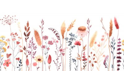 Nálepka Watercolor floral seamless pattern with colorful wildflowers, plants and grass. Panoramic horizontal border, isolated illustration. Meadow in vintage style.