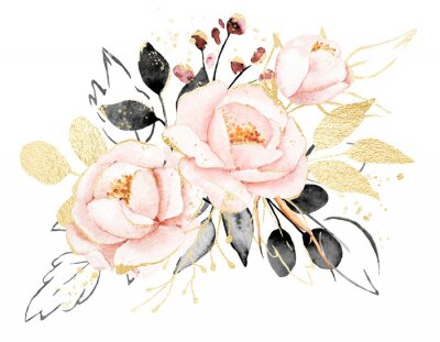 Nálepka Watercolor flowers, floral bouquet with gold gray leaves and blush pink peonies. Perfectly for print on greeting card, wedding invitation, poster. Hand drawing. Composition isolated on white.