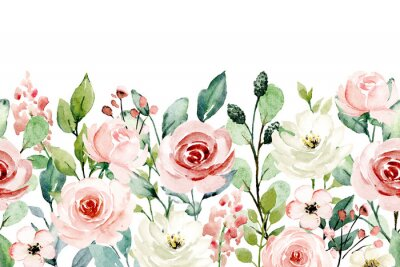 Nálepka Watercolor flowers, pink, white roses. Floral summer repeat border for printing invitations, greeting cards, wall art, stickers and other. Isolated on white. Hand painted.