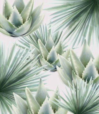 Nálepka Watercolor green palm and cactus leaves. Background vector