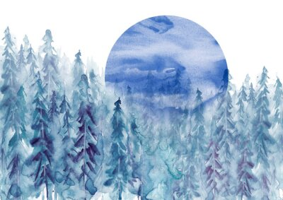 Nálepka Watercolor group of trees - blue fir, pine, cedar, fir-tree. Forest on the slope, cliff, grief. Blue forest, landscape, fog forest landscape, slope, mountain. Full moon, eclipse.