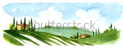 Nálepka Watercolor illustration of small village in Europe. Alpine landscape