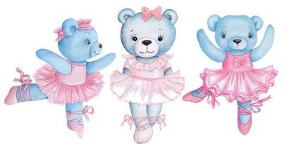 Nálepka Watercolor illustration of three dancing teddy bears in pink ballet dresses.