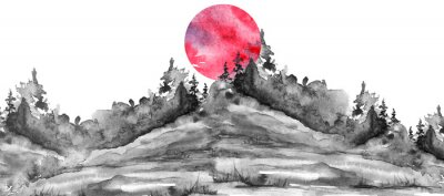 Nálepka Watercolor logo, postcard, background Black silhouette of the forest, pine, spruce, cedar, wild grass, bush. Watercolor landscape,coast, island.black splash of paint, abstract spots. Red, pink sun