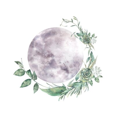 Nálepka Watercolor moon and floral wreath. Natural illustration for logo, tattoo, banner, sticker. Isolated art on white background
