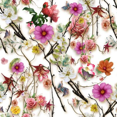 Nálepka Watercolor painting of leaf and flowers, seamless pattern on white background