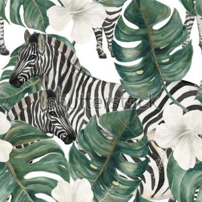 Nálepka Watercolor painting seamless pattern with tropical deliciosa leaves, hibiscus flowers and zebra