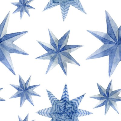 Nálepka Watercolor pattern of Christmas blue stars decoration elements. Hand-drawn illustration on the white background