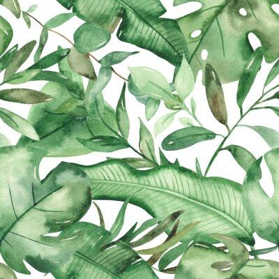 Nálepka Watercolor seamless pattern green tropical leaves