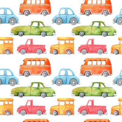 Nálepka Watercolor seamless pattern with cartoon car. Funny cartoon image. Travel conception. Hand painted retro car pattern. Watercolor vintage white background. . Multicolor car texture.