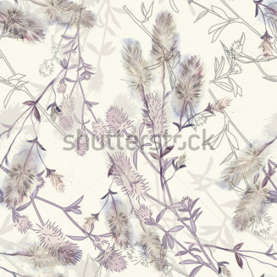 Nálepka Watercolor seamless pattern with rabbitfoot clover flowers