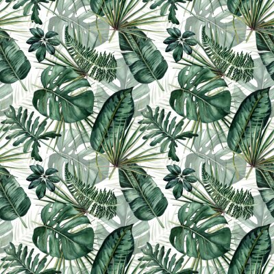 Nálepka Watercolor seamless pattern with tropical leaves: palms, monstera, passion fruit.