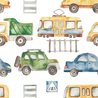 Nálepka Watercolor seamless pattern with urban cartoon cute transport. Texture for boyish design, birthday, wallpaper, scrapbooking, prints, clothes, fabrics, textiles, packaging.
