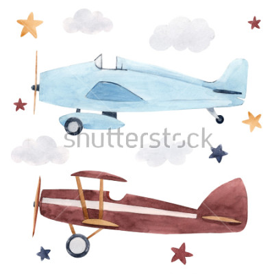 Nálepka Watercolor set of isolated children's illustrations, airplanes, starry sky and clouds. Children's birthday