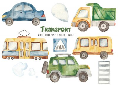 Nálepka Watercolor set with a cute cartoon kids transport for a boy. Cars, bus, tram, truck for baby shower, cards, invitations, prints, logos.