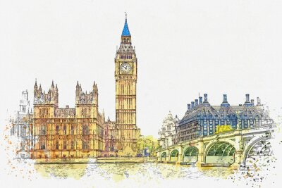 Nálepka Watercolor sketch or illustration of a beautiful view of the Big Ben and the Houses of Parliament in London in the UK