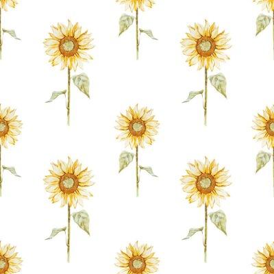 Nálepka Watercolor sunflower pattern