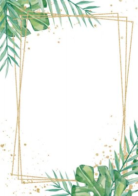 Nálepka Watercolor tropical floral wedding cards, frame, template. Summer leaves and branches for invitation greeting cards, postcards