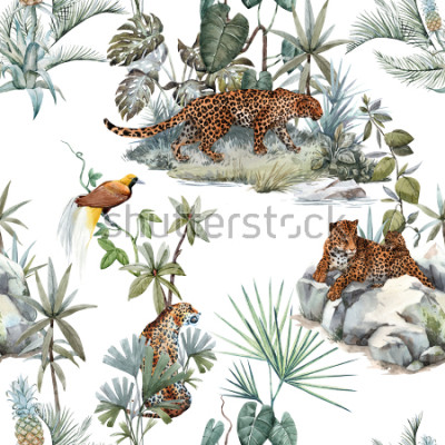 Nálepka Watercolor tropical pattern with a leopard animal, a wild leopardle walking through the jungle, a leopard with a cub lying on the beds. Birds of Paradise on the tree. Palm tree and Monsterra plant.
