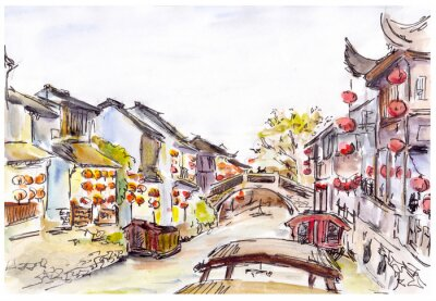 Nálepka Watercolor - water canal in old town in China. Red lanterns.