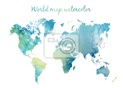 Nálepka Watercolor world map in vector on wight background. Illustration in vector