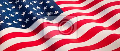 Nálepka Waving flag of United States - Flag of America - 3D illustration
