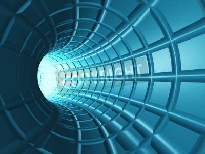 Nálepka Web Tunnel - Radiální tunel s perspektivou webu jako mřížky.