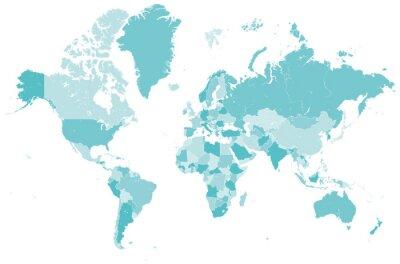 Nálepka Welt Karte blau mit zemí, které zváží Grenzen Vektor GRAFIK