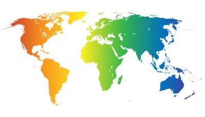 Nálepka Weltkarte v Regenbogenfarben - Vektor