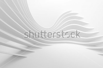 Nálepka White Architecture Circular Background. Modern Building Design. Abstract Curved Shapes. 3d Rendering