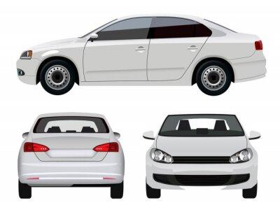 Nálepka White Vehicle - Sedan Car ze tří úhlů