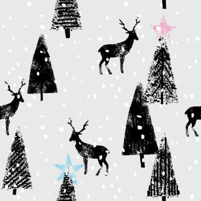 Nálepka winter forest hand drawn trendy pattern