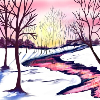 Nálepka Winter landscape with trees in white and pink colors. Pink sunset by the river. The sun shines through the trees. Christmas party. Postcard, poster
