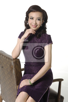 1bf24a1a5e91 Woman in traditional chinese dress sitting old chair nálepky na ...