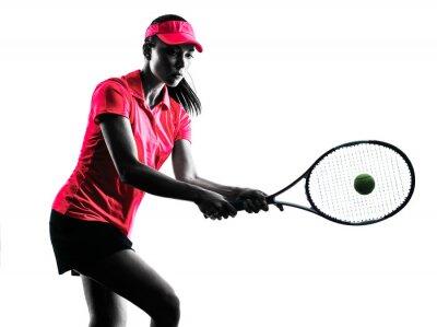 Nálepka woman tennis player sadness silhouette