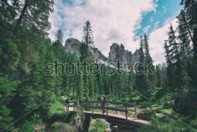 Nálepka wooden bridge and saent waterfall on italian alps, Ambrizola mountains in Dolomites