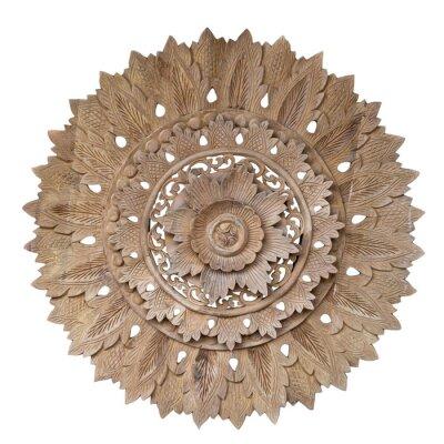 Nálepka Wooden pattern of flower on carve teak wood in circle shape.