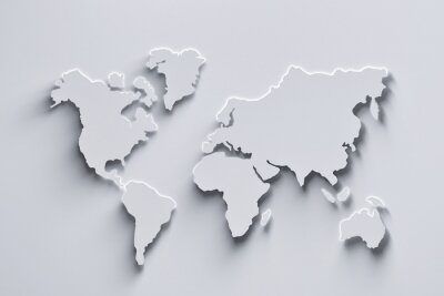 Nálepka World map 3d in white colors with shadows and glowing edges. 3d illustration.