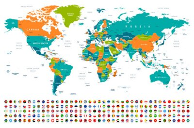 Nálepka World Map and Flags - borders, countries and cities -illustration