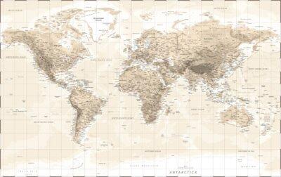 Nálepka World Map Physical - Vintage Retro Old Style - Vector Detailed Illustration