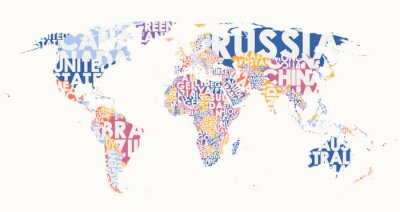 Nálepka World map text composition, name of countries in color territories, Typographic vector illustration