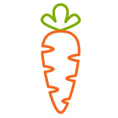 Nálepka Плоская иконка морковь. Контурная векторная иллюстрация морковки. Контурный дизайн