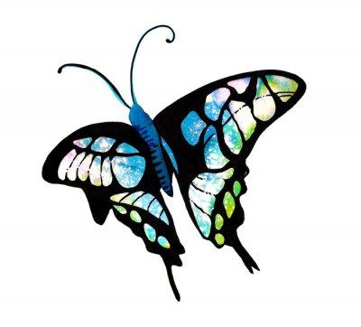 Nálepka 수채화 타이 다이 기법 으로 표현한 나비