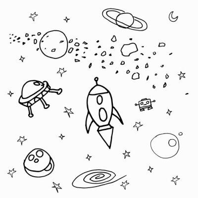 Nálepka Космические объекты на белом фоне