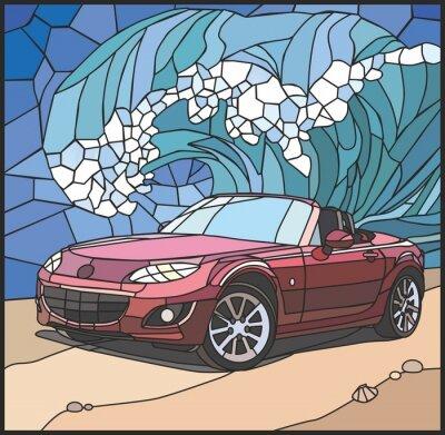 Nálepka Автомобиль на берегу моря (Auto na pláži)