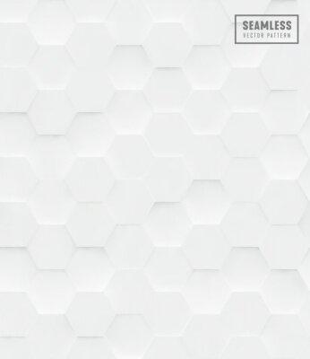 Nálepka 3d Hexagon polygonální bezešvé vektorový vzor, bílé geometrické obchodní pozadí