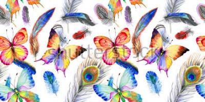 Nálepka Akvarel ptačí ptačí vzor z křídla. Aquarelle divoká květina na pozadí, textury, obal vzor, rám nebo hranice.