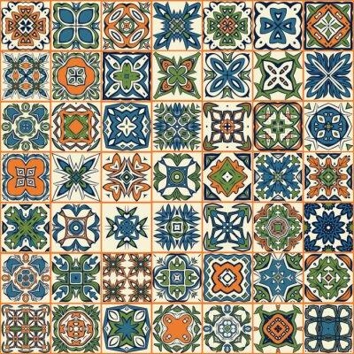 Nálepka Bezešvé patchwork vzor, dlaždice, ozdoby