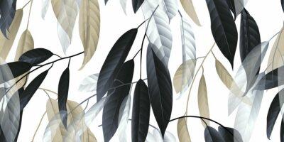 Nálepka Bezešvé vzor, černé, zlaté a bílé dlouhé listy na světle šedém pozadí