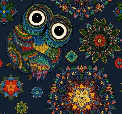 Nálepka Bezešvé vzorek z okrasné barevné sova s květinami a mandaly. Afričan, indická, totem, tetování design. To může být použit pro návrh trička, tašky, pohlednice, plakát a tak dále.